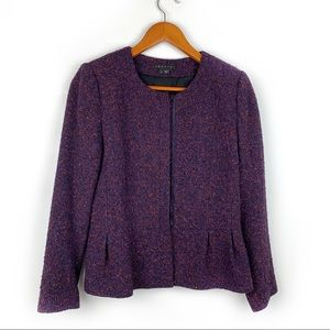 Theory wool blend peplum zip up blazer, size 6